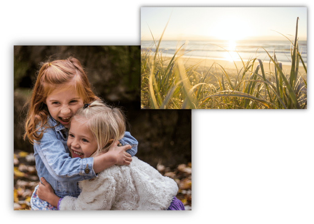 Composite of a photo of two young girls playing together and a photo of Santa Rosa Beach, Florida
