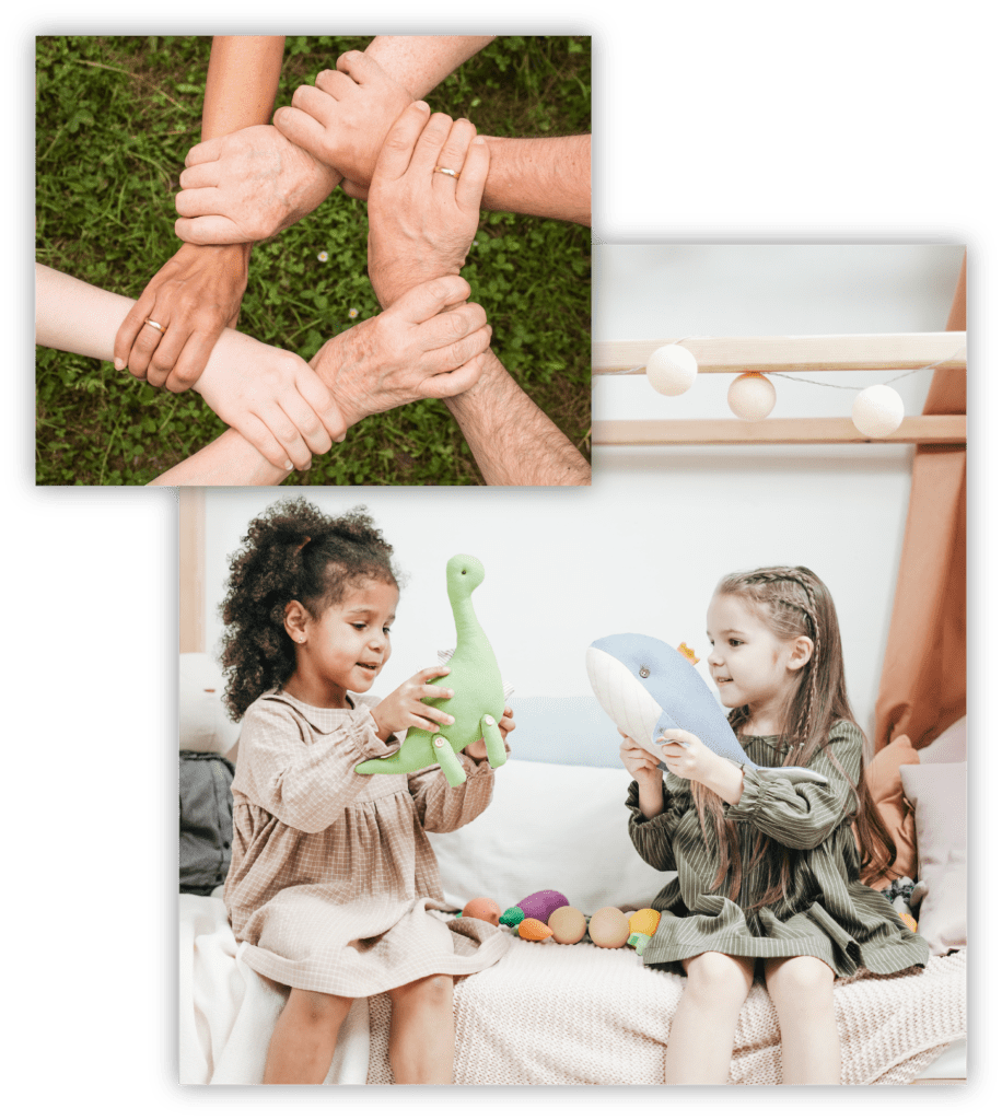 Composite of a photo of a group of hands and a photo of two young girls playing with toys
