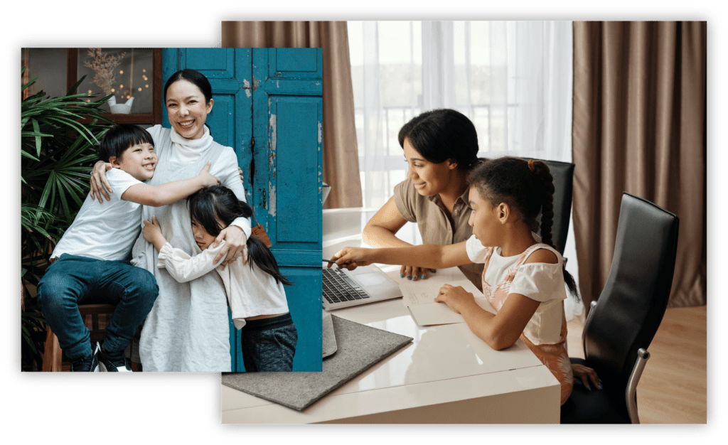 Composite of a photo of a mother hugging her two young children and a photo of a mother and daughter looking at a computer