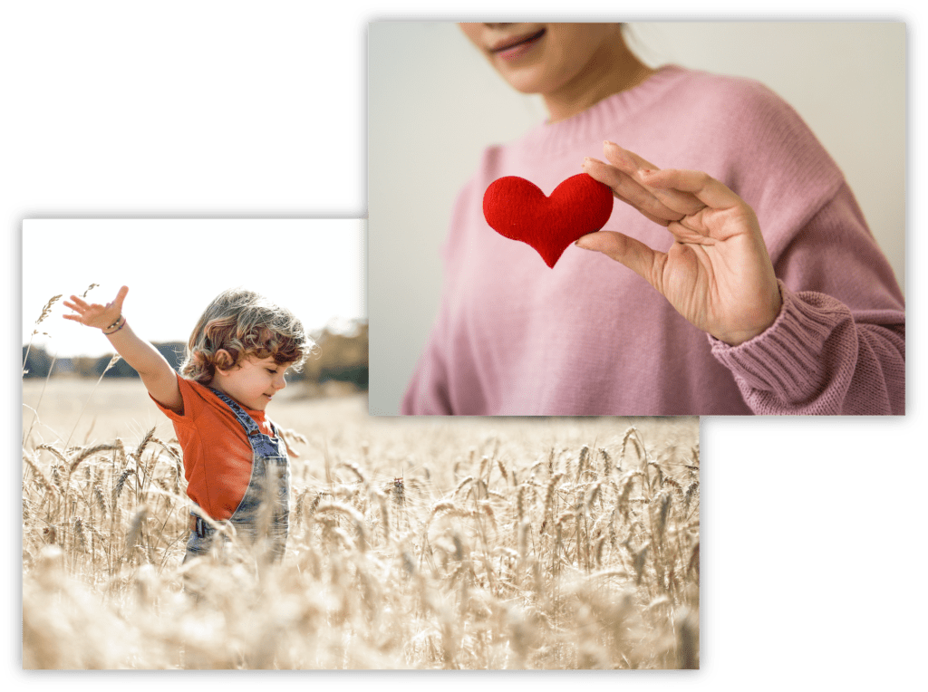 Composite of a photo of a woman holding a red heart figurine and a photo of a young boy playing in a field